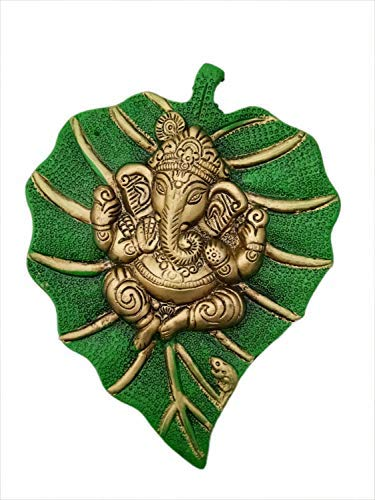 Trendy Crafts Metal Lord Ganesha On Leaf, Wall Hanging Article for Wall Decor, Room Decor, Best for Housewarming, Wedding Gifts