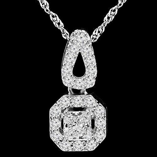 11/10ctw Diamant coupe Radiant Halo collier pendentif en or blanc 14K avec chaîne