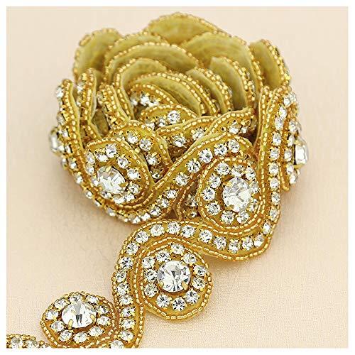 Rhinestone Applique Crystal-Wedding Applique Elegant Gold 1 Yard Rhinestones Beaded Dacorations Handcrafted Headband Bridal Headpiece