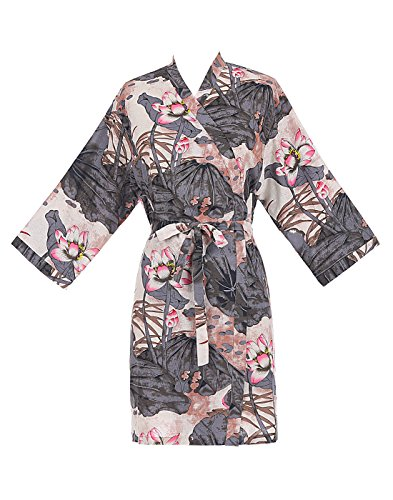 Find Dress Women's Chinese Ink Lotus Kimono Short Cotton Robe DI10114LargeGrey Cotton Kimono Robe
