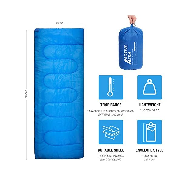 Premium Lightweight Single Sleeping Bag - Warm and Water Resistant, Perfect for Indoor Use or Outdoor Camping, Hiking, Fishing & Travelling 4