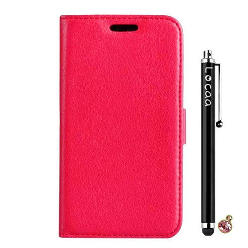 Locaa(TM) Nokia Lumia 620 Nokia620 New Leather Case + Phone stylus + Anti-dust ear plug Deluxe Luxury Crystal Pearl Diamond Rhinestone eye-catching Beautiful Leather Retro Support bumper Cover Card Holder Wallet Cases - [Pure color Series] Red