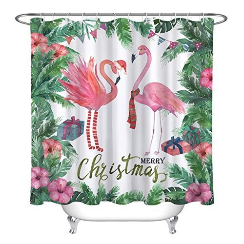 LB Merry Christmas Flamingo Shower Curtain,Pink Flamingos with Christmas Hat Scarf Stocking Funny Christmas Shower Curtains for Kids,Waterproof Fabric 78x72 Inch