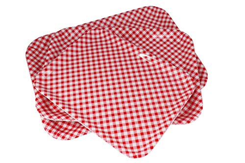 GWPP Melamine Plastic Rectangular Serving Tray, Set of 3 assorted sizes. for indoor Restaurant or Outdor Picnic and Camping. (Red-White Grid) T9281