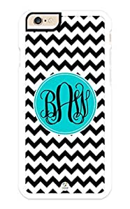 iZERCASE iPhone 6 PLUS Case Monogram Personalized Black and White Chevron with Black Initials RUBBER CASE - Fits iPhone 6 PLUS T-Mobile, AT&T, Sprint, Verizon and International (White)