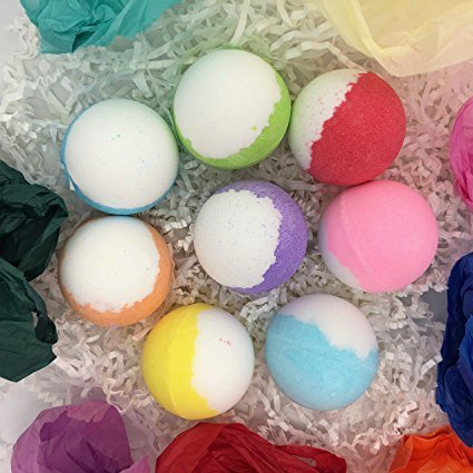 Essential Oil, Cocoa & Shea Butter Bath Bombs Gift Set - Harmony Aromas 8 Large 70 Gram Balls - Relaxing, Moisturizing, Gift Ideas for Mom, Daughter, Sister, Wedding, Graduation, Mother's Day, His/Her