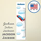 321Done Personalized Hanging Growth Chart, Red Blue Airplane with Clouds Cartoon, Kids Height Ruler, Premium Vinyl Nursery Wall Decor