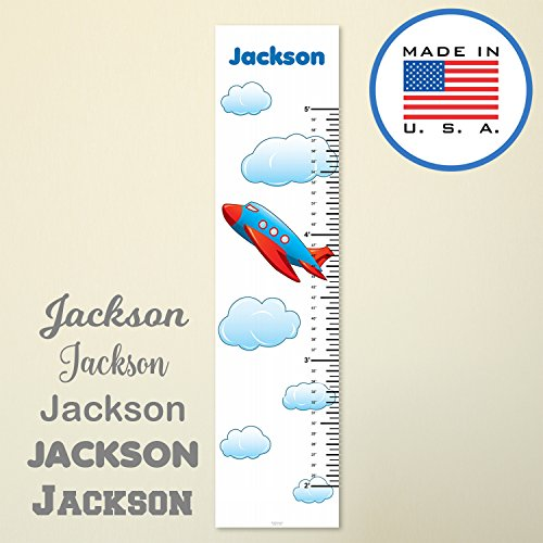 321Done Personalized Hanging Growth Chart, Red Blue Airplane with Clouds Cartoon, Kids Height Ruler, Premium Vinyl Nursery Wall Decor by 321Done