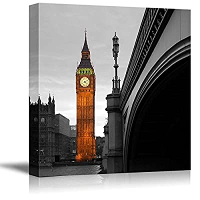Black and White Photograph of London with a Pop of Color on The Big Ben, Quality Artwork, Magnificent Craft