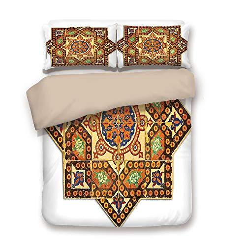 Duvet Cover Set,BACK Of Khaki,Arabian Decor,Vintage Floral Geometrical Pattern with Turkish Ottoman Calligraphic Art Style Old Boho Print,Multi,Decorative 3 Pcs Bedding Set by 2 Pillow Shams,King -