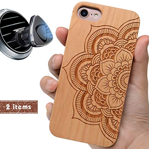 (iProductsUS Sunflower Phone Case Compatible with iPhone 8, 7, 6/6S and Magnetic Mount, Wooden Cases Engraved Mandala Flower Built in Metal Plate, TPU Rubber Shockproof Protective Cover (4.7 inch))