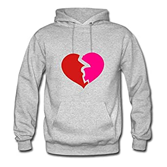 Broken Heart Creative X-large Sweatshirts Women Cotton For Grey