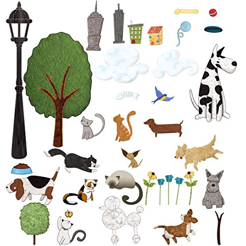 My Wonderful Walls Cat and Dog Wall Sticker Set - 37 Peel & Stick Animal and City Park Decals