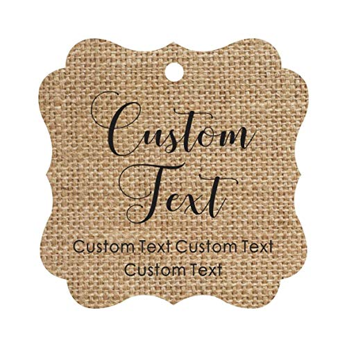 (Darling Souvenir Personalized Paper Hang Tags Custom Text Wedding Party Gift Favor Tags -Burlap-50 Tags)