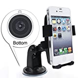 Car Mount, Free 360-Degree Rotating Universal Windshield Car Mount Holder/Cradle for the Apple iPhone 6 Plus, 6, 5s, 5, Samsung Galaxy S6, S6 Edge, Note4, Motorola, HTC, [Retail packaging] - Black