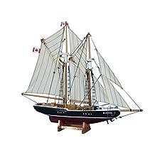 "Bluenose 17"" - Wooden Model Yacht - Sailboat Centerpiece - Nautical Gift - Canadian Racing Schooner - Model Ship - Small Wood Sailboat - Not A Model Kit"