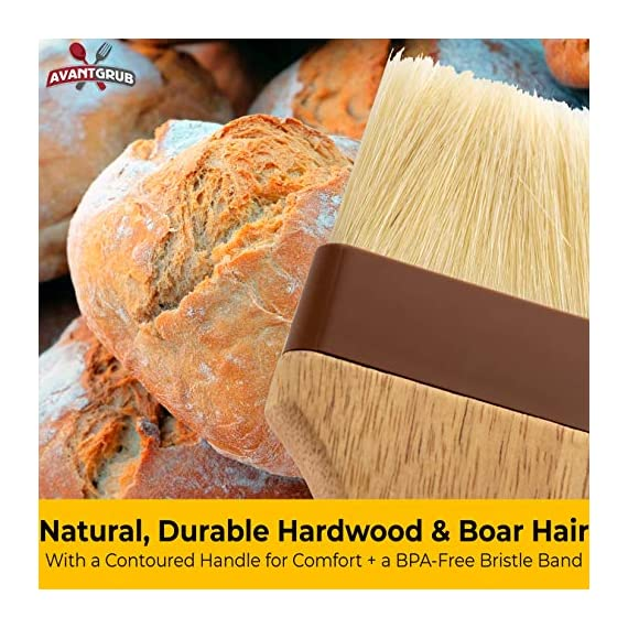 Restaurant-Grade Boar Hair Pastry and Basting Brush Set of 3 (1, 2 and 3 Inch). Ultra-Fine Hardwood Flat Brushes for… 5 MAKE BAKING A BREEZE WITH PRO-GRADE PASTRY BRUSHES! These restaurant-grade flat brushes are perfect for applying glaze or egg wash to bread dough and desserts. Grease pans and cookie sheets with ease! GENUINE HARDWOOD AND BOAR HAIR FOR NATURAL, DURABLE TOOLS. Built to last by pro chefs, this brush is equipped with a solid wood handle and reinforced boar bristles to stop shedding and last longer. GUARANTEED FOR LIFE. We offer a No-Nonsense Lifetime Satisfaction Guarantee on all of our kitchen accessories and supplies. If at any point you're not 100% happy, just send us an email, and we promise to make it right!