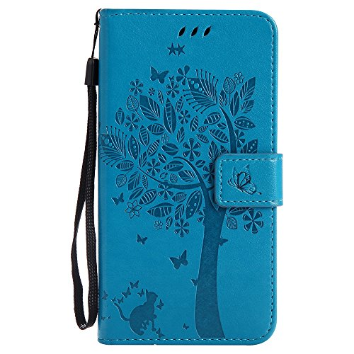 Lomogo [Tree Embossing] Galaxy Sky Pro / J7 Perx / J7 2017 / J7 V / Halo Leather Wallet Case with Kickstand Card Holder Shockproof Flip Case Cover for Samsung Galaxy J7 (2017) (Blue)