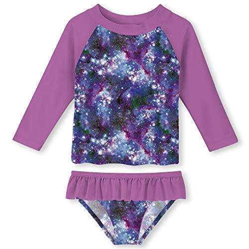 Funnycokid Girls Two-Pieces Galaxy Swimsuit Rash Guard Suit Children Swimming Costume UPF 50+ UV Purple Age 2 ()