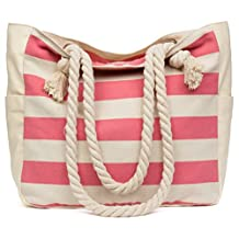 Malirona Large Beach Canvas Travel Tote Bag - Perfect Tote Bag For Holidays (Pink)