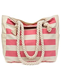 Malirona Large Beach Canvas Travel Tote Bag - Perfect Tote Bag for Holidays-Pink