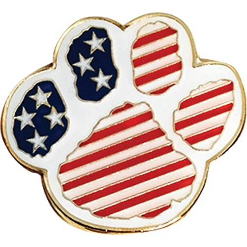 Set of 15 Patriotic Award Pins - Paw Shaped with American Flag by TCDesignerProducts