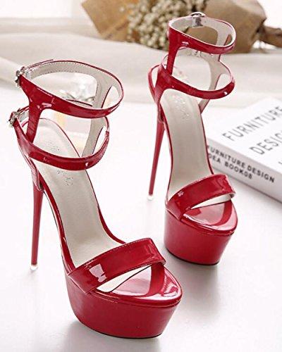 Con Caviglia Tacco Alto Sexy Plateau A E Red Da Alla Cinturino Donna Spillo YxHFCqpxw