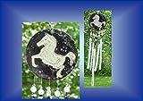 Mini Roan Horse Pony Equestrian Ceramic & Fused Glass WindChime Patio Garden Barn Decor Wind Chime