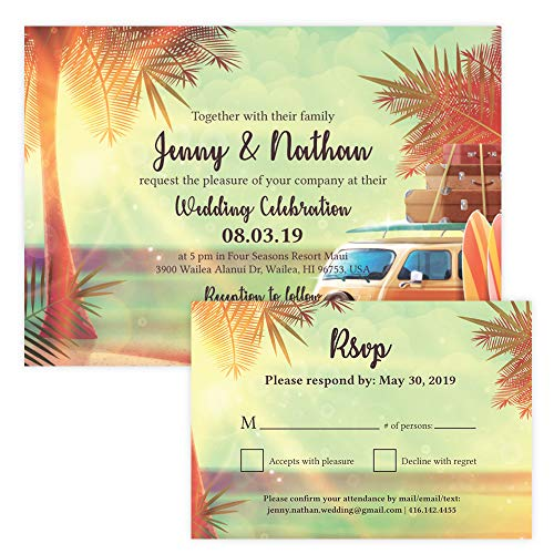 (Custom - Vintage Beach Wedding Save The Date Invitation Set - Set of 25, Personalized Wedding Invitation, Hawaiian Wedding, Vintage Beach Theme (Invitation + RSVP Set))