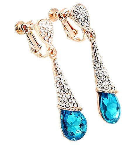 CNCbetter Women Charms Jewelry Austrian Crystal Charms Blue Teardrop Screw Back Clip On Earring ()