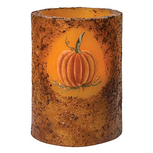 - CWI Gifts Burnt Mustard Battery Operated Pumpkin Timer Pillar, Multi