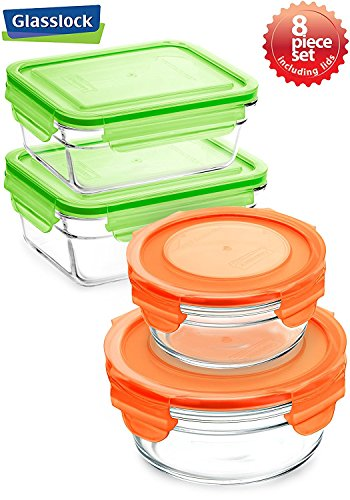 Snaplock Lid Tempered Glasslock Storage Round and Rectangular Containers 8pc set Combo with Orange and Green Lid - Microwave & Oven Safe Spill - Green Set Go Glasslock