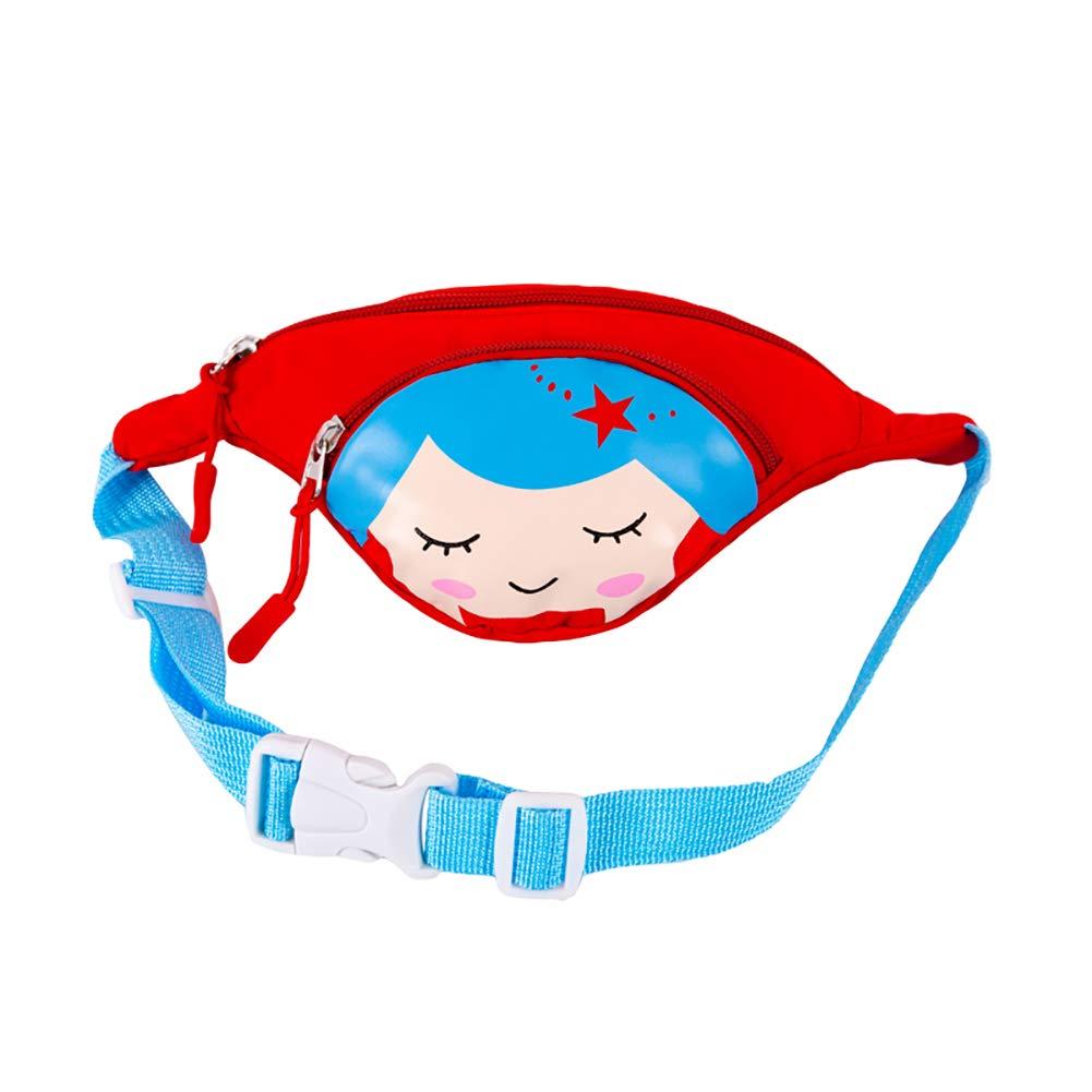 lightclub Zipper Closure Adjustable Strap Travel Cute Cartoon Girl Children Kids Zipper Chest Small Mini Waist Bag Waist Pack Fanny Pack For kids child Baby Boy girl Red