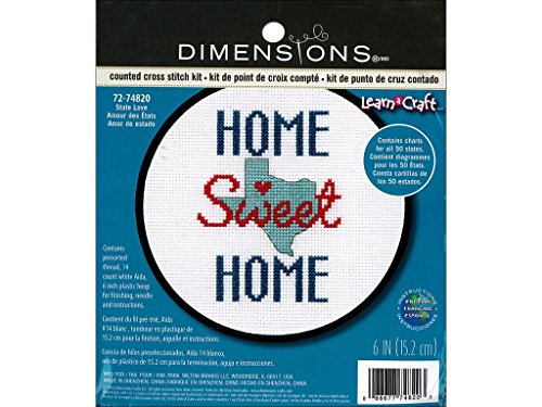 Dimensions Counted Cross Stitch Kit for Beginners, 'State Love' 50 States USA Cross Stitch, 14 Count White Aida, 6'' ()