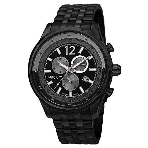 Akribos XXIV Men's AK650BK Grandiose Swiss Chronograph Black Stainless Steel Bracelet Watch