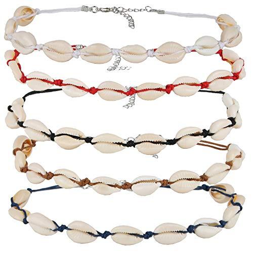 Simoda Natural Shell Beads Necklace Handmade Indian Conch Beach Choker for Women and Girls (11.8)