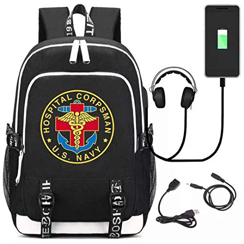 US Navy Hospital Corpsman Boys Schoolbag Backpack Bags Girls Backpack Canvas Rucksack Laptop Satchel Hiking Bag