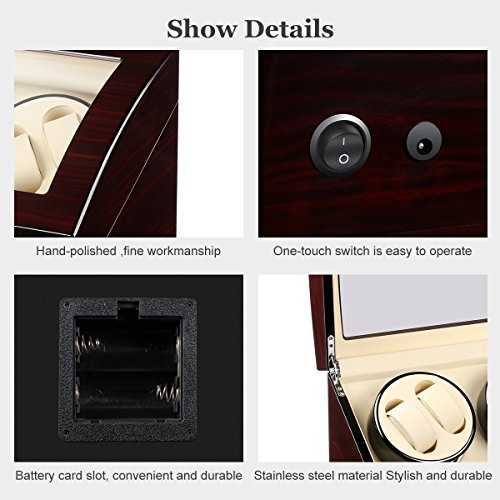 CRITIRON 4+6 Automatic Watch Winder Luxury Storage Case Rotating Display Box, Wood Shell with Piano Paint (Brown+White) by CRITIRON (Image #3)