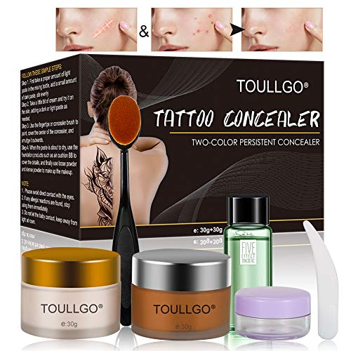 Makeup Concealer, Scar Concealer, Tattoo Concealer, Pro Concealer, Professional Waterproof Concealer Set to Cover Tattoo/Scar/Acne/Birthmarks/Vitiligo, 30g+30g (The Best Concealer For Acne Scars)