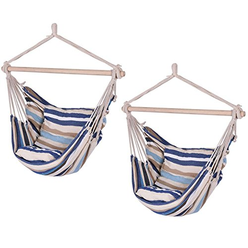 2PCS Hammock Hanging Rope Chair Porch Tree Swing Seat Patio Camping Portable Premium Cotton Canvas Tan - Cats Online Geelong Shop