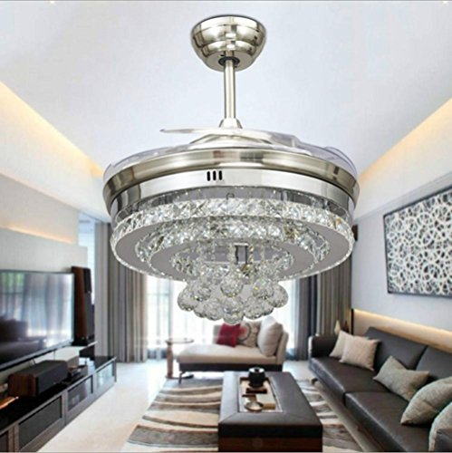 KHSKX Personality Crystal stealth ceiling fan light, stylish dining room living room fan chandelier, European-style stealth fan light by KHSKX (Image #5)'