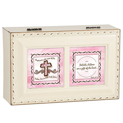 - Baptism for Girl Pink Cross Ivory with Gold Trim Jewelry Music Box Plays Tune Ave Maria