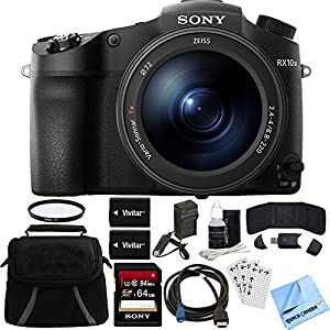 Sony DSC-RX10M III Cyber-shot 4K Video 20.1MP Digital Camera 64GB Memory Card Bundle includes Camera, Bag, 64GB SDXC Memory Card, 72mm UV Filter, Batteries, Charger, Beach Camera Cloth and More