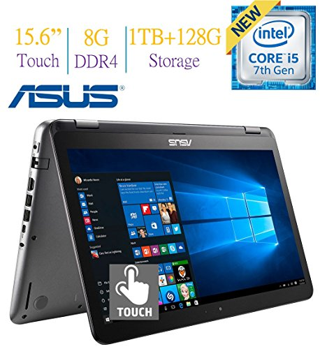 ASUS 15.6 2-in-1 FHD Touchscreen (1920 x 1080) Display Laptop PC, 7th Gen Intel Core i5-7200 2.5GHz, 8GB DDR4, 1TB + 128GB SSD Hard Drive, Bluetooth, 2GB NVIDIA 940MX Graphics, Windows 10