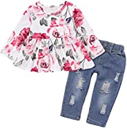 AmzBarley Toddler Baby Girl Clothes Ruffle Long Sleeve Tops Floral Pants with Headband Outfit Set