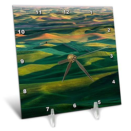 (3dRose Danita Delimont - Farms - Wheat Crop, Palouse Region of Eastern Washington State. - 6x6 Desk Clock (dc_315081_1))