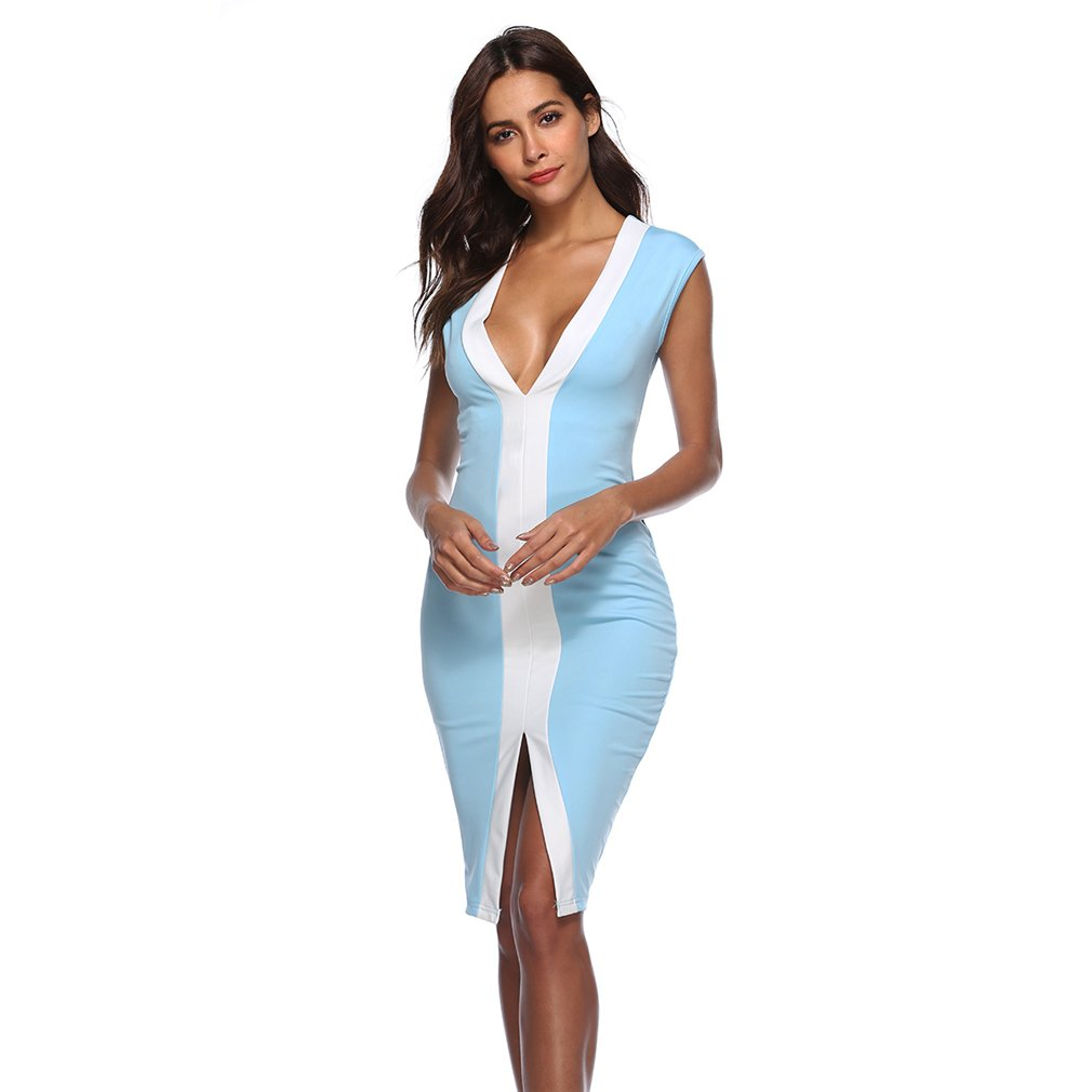 GUAngqi Women's Sexy Deep V Neck Dress Spaghetti Strap High Split Party Dress,sky blue