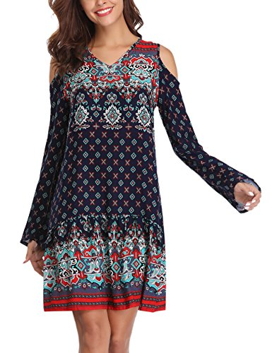 Long Sleeve Printed Tunic Dress - Abollria Women Bohemian Loose Fit Long Sleeve Printed Tunic Dress (Nave Blue,S)