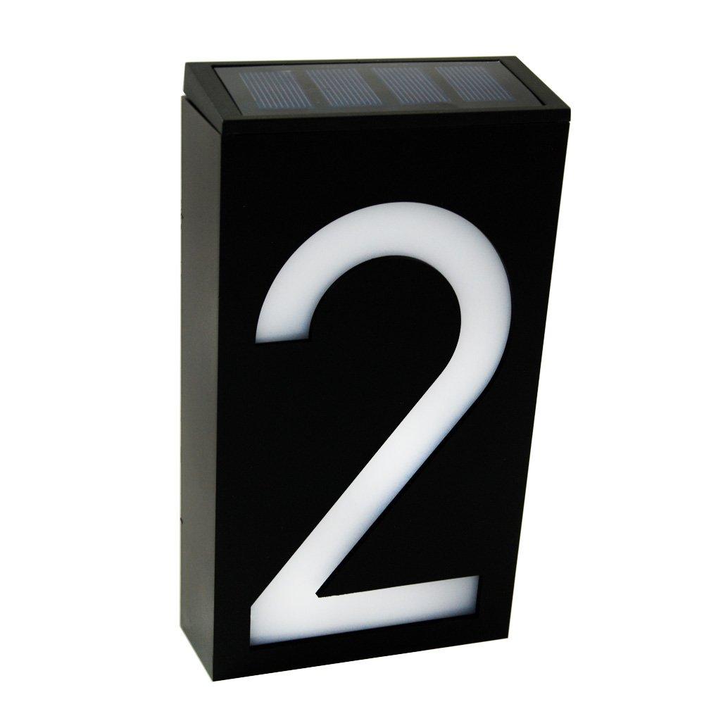Waterproof Solar Power LED Address Number Door Wall Plate Light Sign - Digit 2