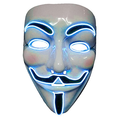 2017 Light Up EL LED V Face for Vendetta Movie Costume Guy Fawkes Anonymous Haloween Cosplay Mask (Blue)